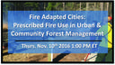 November 10 Webinar on Prescribed Fire Use in Urban & Community Forest Management